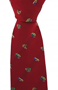 Soprano Red Luxury Silk Tie With Fly Fishing Hook Design by Soprano