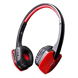 Sades D201 Wireless Bluetooth 4.1 Stereo Earpiece Headset Gaming Headphones with Microphone on Ear for PC Laptop iPad iPhone Samsung and Other Smart Phones(Black Red)