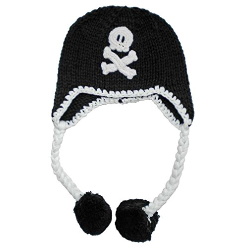 Huggalugs Girls or Boys Pirate Skull Baby Beanie Hat