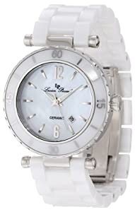 Lucien Piccard Women's LP-10222-WWSA La Tournette White/Silver-Tone Mother of Pearl Dial Ceramic Watch