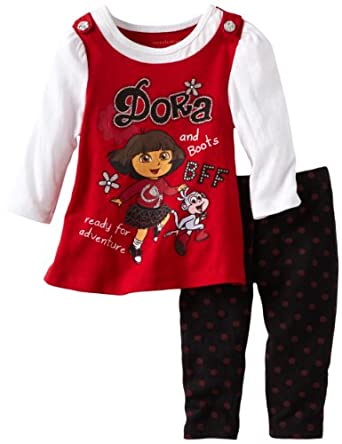Nickelodeon Baby-Girls Infant Nickelodeon Baby-Girls Infant Dora the Explorer 2 Piece Dora the Explorer and Boots Polka Dot Legging Set, Red Medium, 12 Months