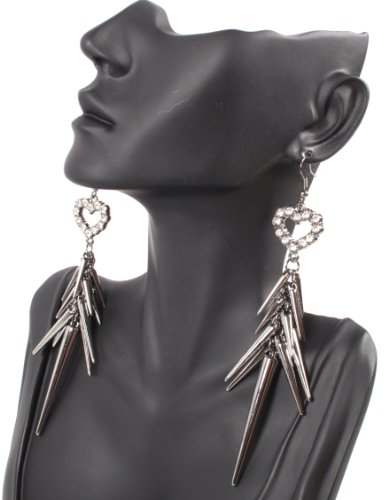 Black Iced Out Lady Gaga Poparazzi Heart Earrings with Spikes Light Weight Basketball Wives