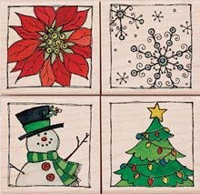 Framed Winter Holidays Wood Mounted Rubber Stamp Set (LL136)