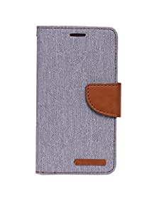 Mobi Fashion Diary Flip Cover For Micromax Canvas 2/A110 - Grey