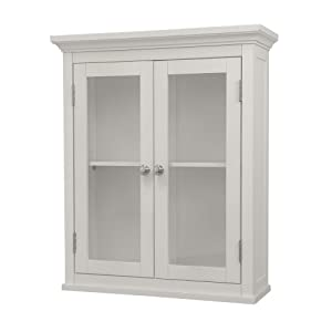Shelved Wall Cabinet With Glass Paneled Doors White Kitchen Dining