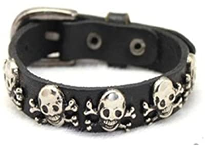 Leather Bracelet with Skull and Crossbones for the Pirate in You, Halloween Jewelry from HavnaBall