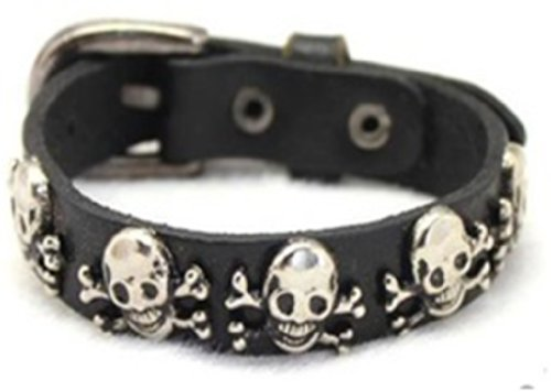 Skull and Crossbones Black Leather Bracelet Gothic Biker Pirate Skeleton Halloween Jewelry