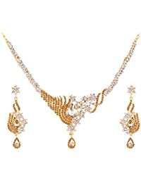 Apara Gold Plated Necklace And Earring With LCT Stone Ad Austrian Daimond