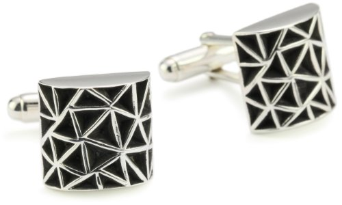 Zina Sterling Silver Men's 'Cosmos' Cuff Link Silver
