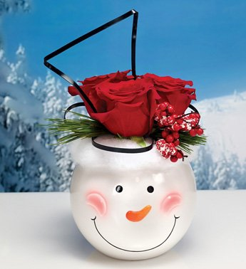 Napco Ceramic Snowman Face Ball Planter 2pk