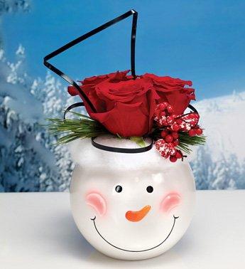Napco Ceramic Snowman Face Ball Planter 2pk