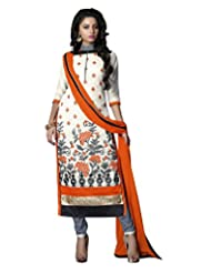 Prafful Off White Chanderi Cotton Embroidered Unstitched Dress Material - B015HBJK5C