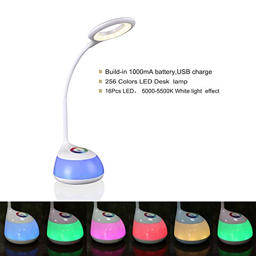 HIHIGOU-Bunte-Dimmbare-Schreibtischlampe-LED-Tischlampe-3-Helligkeitsstufen-Lesen-Lernen-Entspannung-Flexibles-Arm-Touchfeldbedienung-mit-USB-Anschluss-modern-tischleuchte-LED-wei