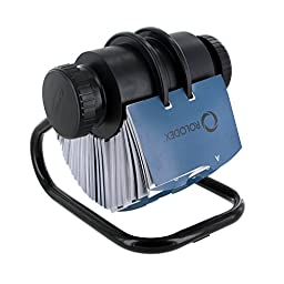 Rolodex 67247 Rolodex Open Rotary Business Card File, 300 Sleeve, 600-Card Cap, 24 Guides, BK