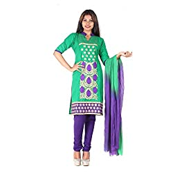 RangoliSF Woman's Cotton Unstitched Dress Material (RSFG1402 Green)