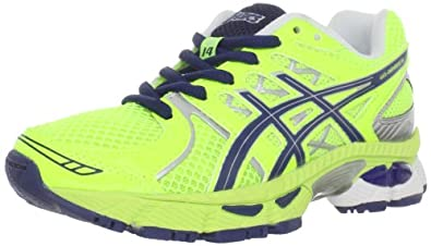 ASICS GEL-Nimbus 14 GS Running Shoe (Little Kid/Big Kid),Neon Yellow/Navy/Lightning,1 M US Little Kid