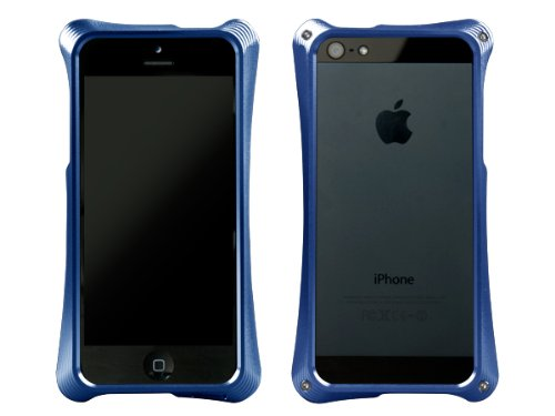ABEE iPhone5対応 カケンアルマイト 【超肉厚5.4ミリ硬質アルミニウム採用 3次元曲線フォルム アルミジャケットバンパー】 ブルー MA-5R01-BLK