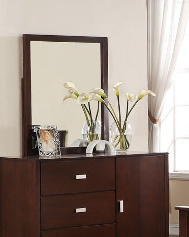 Bedroom Dresser Mirror in Medium Brown Finish