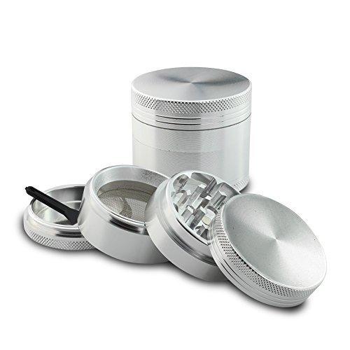 ReaLegend-Weed-Grinder-40mm-4-Piece-Herb-Grinder-Spice-Grinder-Pollen-Plant-Grinder-Travel-Grinder-Silver