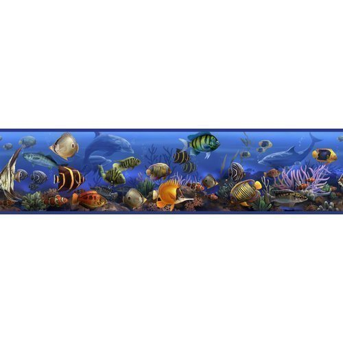 York Wallcoverings RMK1004BCS RoomMates Under the Sea Peel & Stick Border, - 1