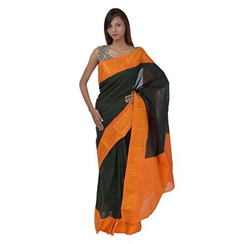 Saundarya Sarees Women Cotton Golden Border Black Saree