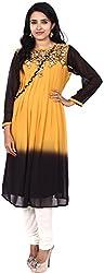 Touch Patiala Women's Georgette Regular Fit Kurta (Yellow, X-Large)