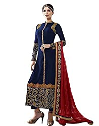 pakiza design new blue embroidered georgette partywear festival salwar suit dress material