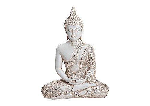 Deko-Buddha Sitzend, Ca. 29Cm Hoch In Weiß | Buddha-Figur Für