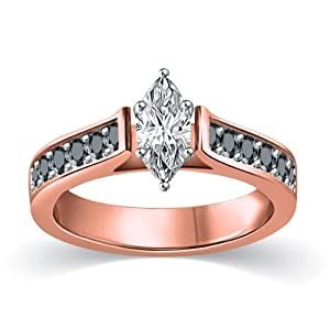 3/4 ct tw White & Black Marquise Cut Diamond Cathedral Accent Engagement Ring 14K Rose Gold