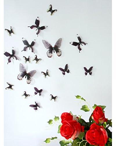 Ambiance Live Vinilo Decorativo 18 Piezas 3D Adhesive Butterflies Chic translucid Negro