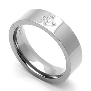 6MM Comfort Fit Titanium Wedding Band Masonic Flat Ring (Size 7 to 14) Size 7