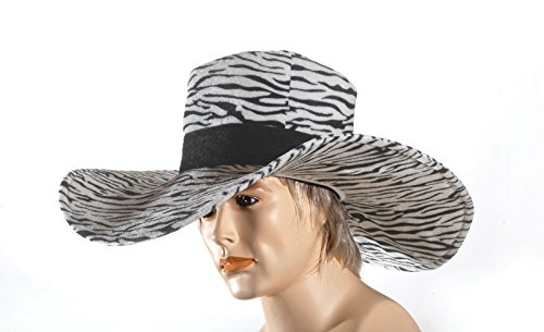 Star Power Zebra Pimp Wide Brim Big Daddy Costume Hat Black White One Size