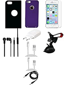 NIROSHA Cover Case Charger Headphone USB Cable for Apple iPhone 5 - Combo