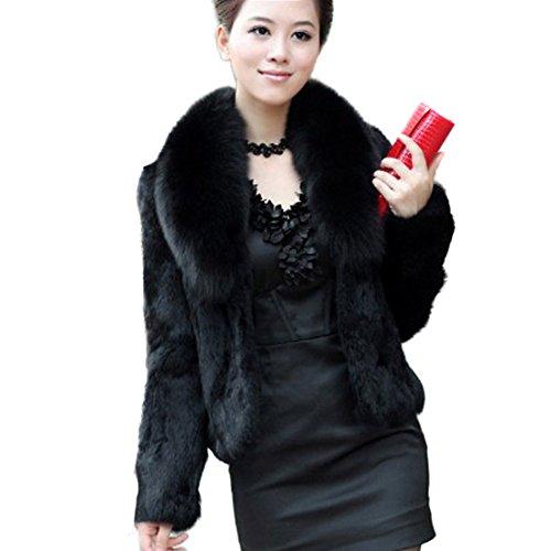 Imixlot Frauen strickte Kaninchen Pelz Weste Gilet mit Fox Kragen Jacke