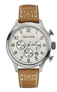 Nautica  A14695G - Reloj de cuarzo para hombre, con correa de cuero, color marrón