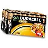 DURACELL 75052869 BATTERY- ALKALINE PLUS AAA 16PK - Pack of 16