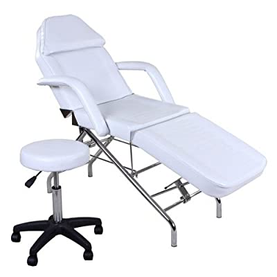 """Hera"" White Facial Spa Tattoo Bed & Stool & Towel Holder"