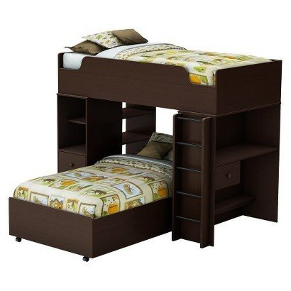 South Shore Logik Storage Bunk Kids Bed - Espresso (Twin) - Children'S Sleeping Bed Bedroom Furniture Double Deck Multifunctional Storage Organizer Sleep Space front-853936
