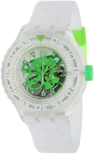 5641fc4bfee Compare   Swatch Chlorofish Green Skeleton Dial White Silicone Mens Watch  SUUK100 !