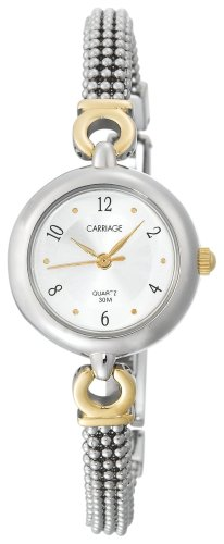 Carriage by Timex Women's C6A221 Two-Tone Round Case Silver Dial Two-Tone Beaded Bracelet Watch