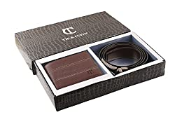 Tie & Cuffs Combo Of Black Genuine Leather Belt & Brown Wallet For Men