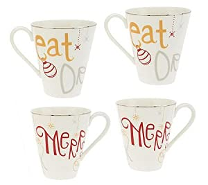 Lenox Eat, Drink and Be Merry Set of 4 Mugs