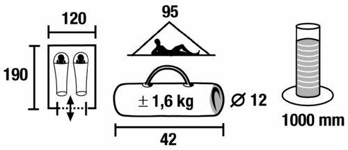 High Peak Zelt Minipack, grau/rot, 10053, 2 Personen - 2