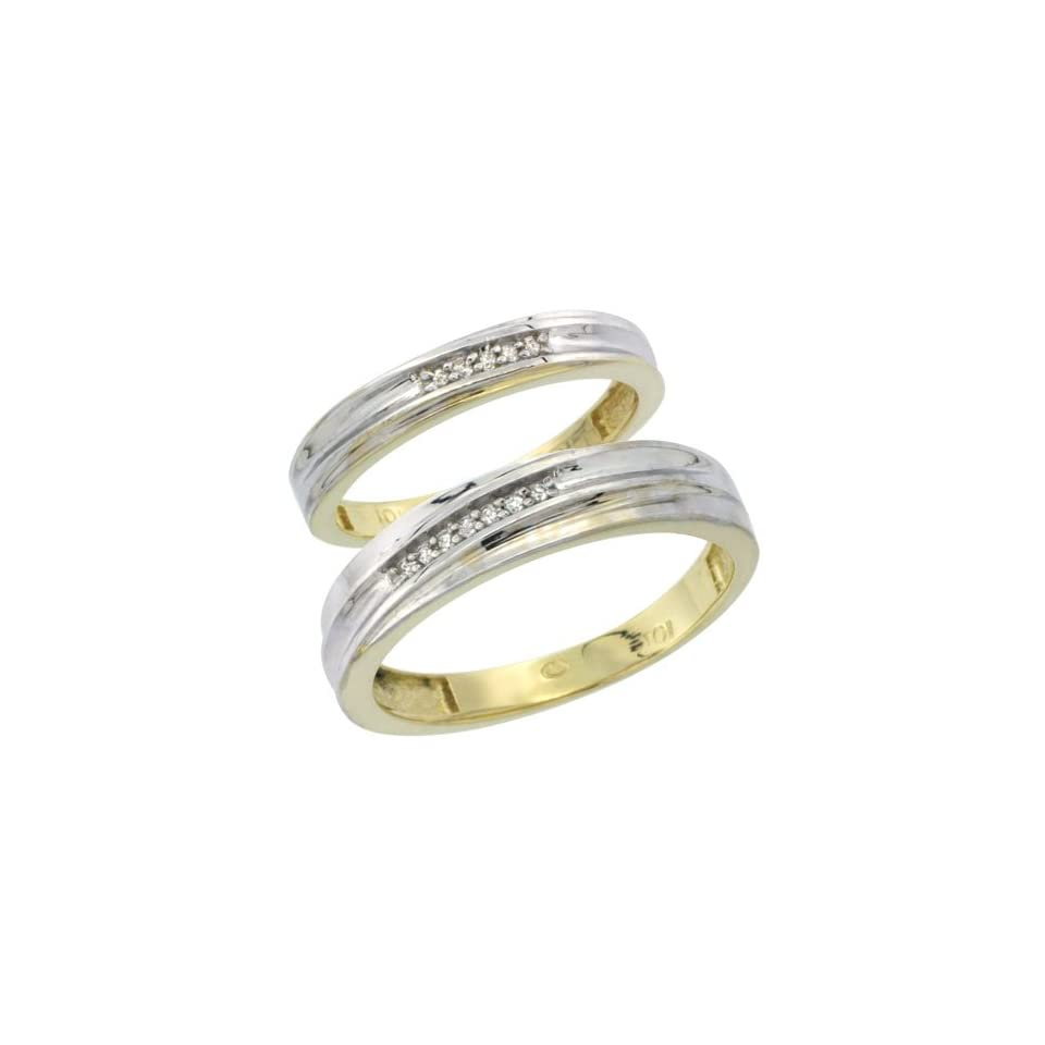 10k Yellow Gold Diamond Wedding Rings Set for him 5 mm and her 3.5 mm 2 Piece 0.07 cttw Brilliant Cut, ladies sizes 5   10, mens sizes 8   14