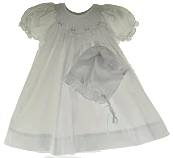 Petit Ami Infant Baby Girls White Smocked Dress & Bonnet Set-NB