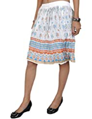 Exotic India Midi-Skirt With Printed Flowers And Golden Painted Border