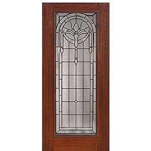 Mahogany Fiberglass Door Full Lite Palmetto Glasscraft