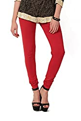 Women's solid Red Cotton-Lycra Leggings/Churidars