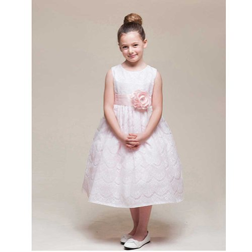 Crayon Kids Girls 3T Pink Lace Overlay Flower Girl Easter Dress front-731214