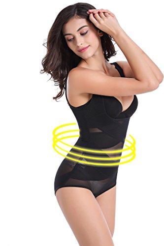 Donna Regolabile Shapewear corsetto Bustino vita Trainer Cincher corpo Shaper (L, Nero)